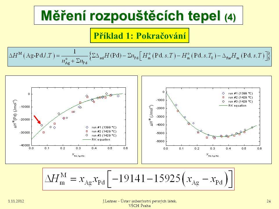 1.11.2012J.Leitner - Ústav inženýrství pevných látek, VŠCH Praha 24 Měření rozpouštěcích tepel (4) Příklad 1: Pokračování