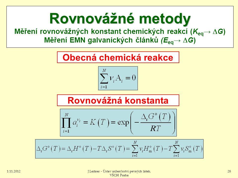 1.11.2012J.Leitner - Ústav inženýrství pevných látek, VŠCH Praha 28 Rovnovážné metody Rovnovážné metody Měření rovnovážných konstant chemických reakcí (K eq →  G) Měření EMN galvanických článků (E eq →  G) Obecná chemická reakce Rovnovážná konstanta