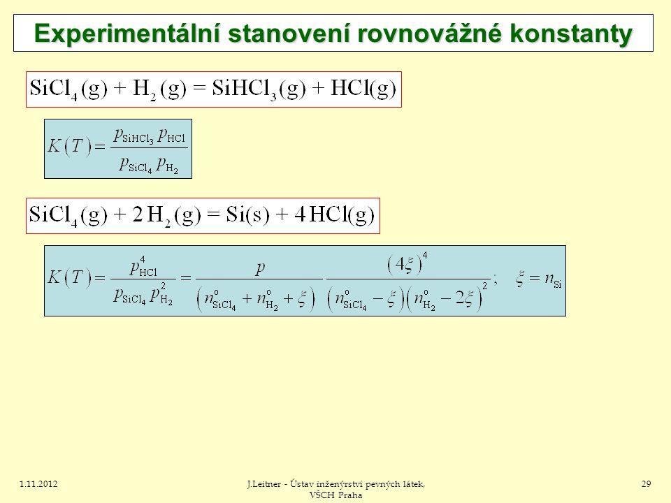 1.11.2012J.Leitner - Ústav inženýrství pevných látek, VŠCH Praha 29 Experimentální stanovení rovnovážné konstanty