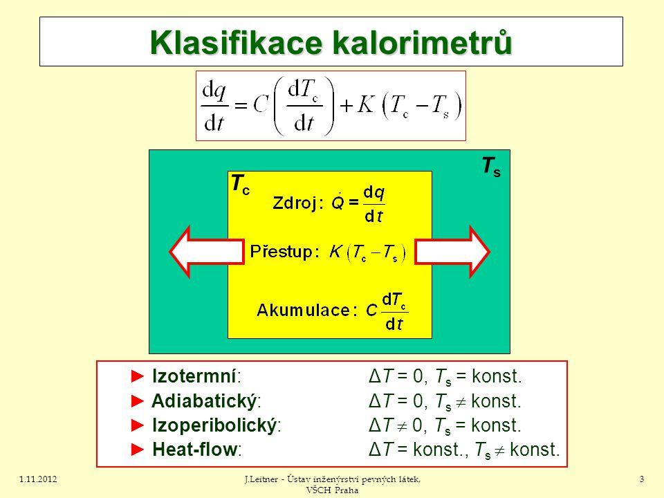 1.11.2012J.Leitner - Ústav inženýrství pevných látek, VŠCH Praha 3 Klasifikace kalorimetrů ► Izotermní:ΔT = 0, T s = konst.