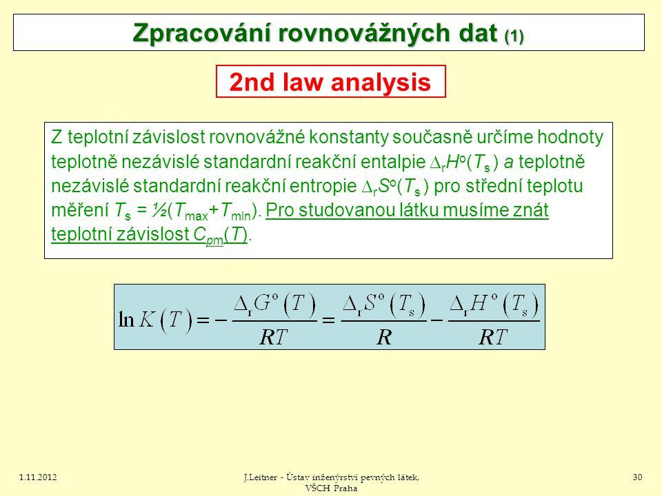 1.11.2012J.Leitner - Ústav inženýrství pevných látek, VŠCH Praha 30 Zpracování rovnovážných dat (1) 2nd law analysis Z teplotní závislost rovnovážné konstanty současně určíme hodnoty teplotně nezávislé standardní reakční entalpie  r H o (T s ) a teplotně nezávislé standardní reakční entropie  r S o (T s ) pro střední teplotu měření T s = ½(T max +T min ).