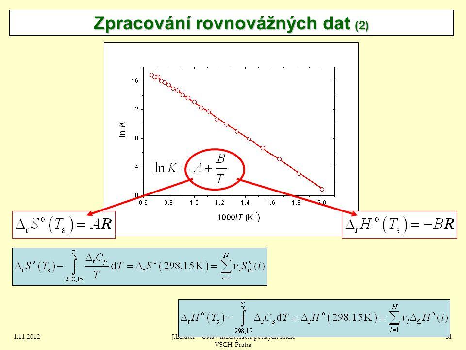 1.11.2012J.Leitner - Ústav inženýrství pevných látek, VŠCH Praha 31 Zpracování rovnovážných dat (2)