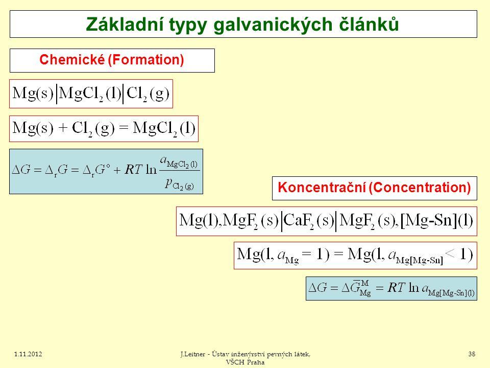 1.11.2012J.Leitner - Ústav inženýrství pevných látek, VŠCH Praha 38 Koncentrační (Concentration) Základní typy galvanických článků Chemické (Formation)