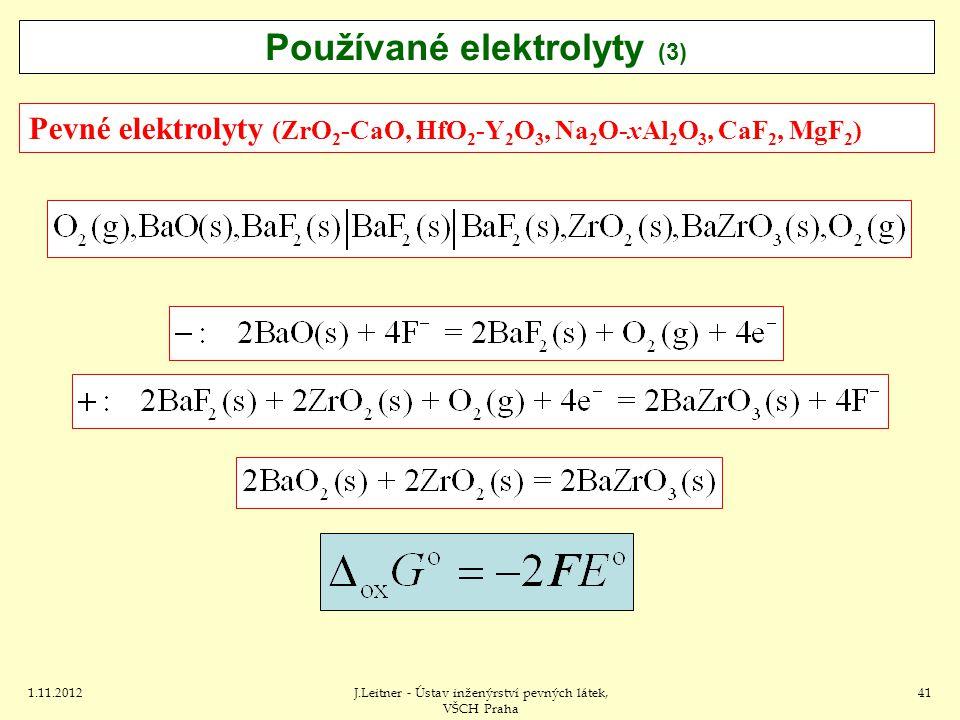 1.11.2012J.Leitner - Ústav inženýrství pevných látek, VŠCH Praha 41 Pevné elektrolyty (ZrO 2 -CaO, HfO 2 -Y 2 O 3, Na 2 O-xAl 2 O 3, CaF 2, MgF 2 ) Používané elektrolyty (3)