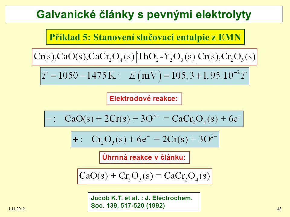 1.11.201243 Příklad 5: Stanovení slučovací entalpie z EMN Galvanické články s pevnými elektrolyty Jacob K.T.