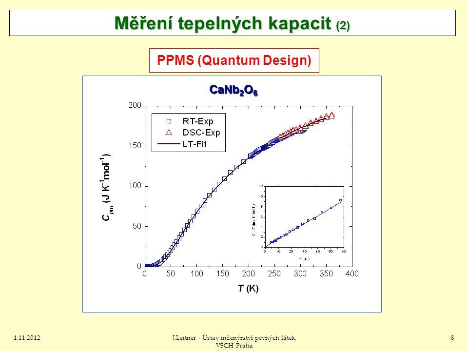1.11.2012J.Leitner - Ústav inženýrství pevných látek, VŠCH Praha 8 Měření tepelných kapacit (2) PPMS (Quantum Design) CaNb 2 O 6