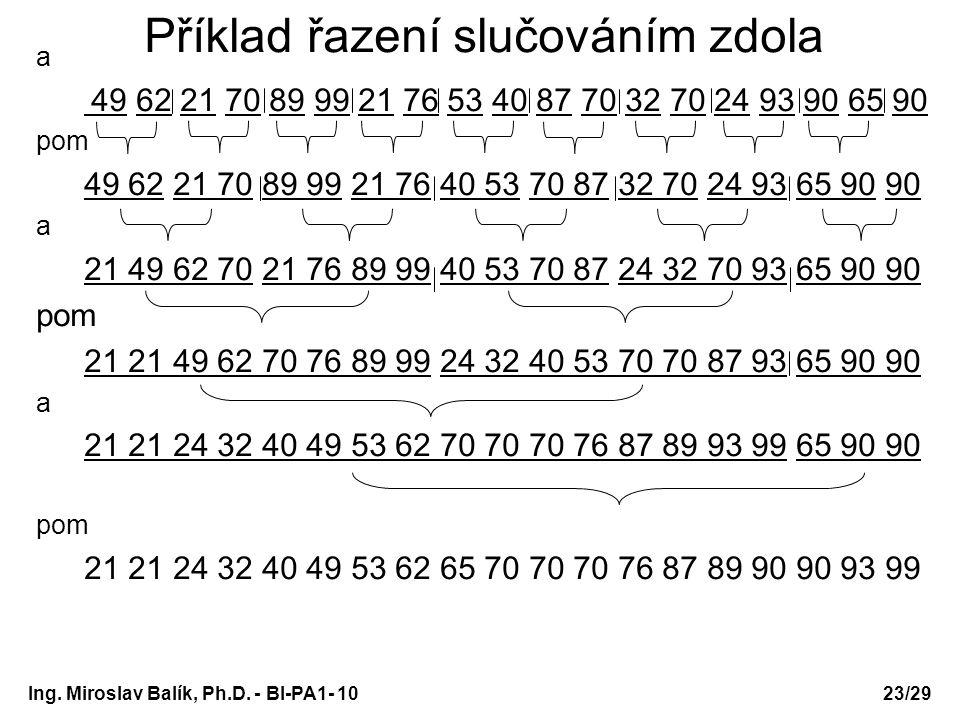 Ing. Miroslav Balík, Ph.D. - BI-PA1- 10 Příklad řazení slučováním zdola a 49 62 21 70 89 99 21 76 53 40 87 70 32 70 24 93 90 65 90 pom 49 62 21 70 89