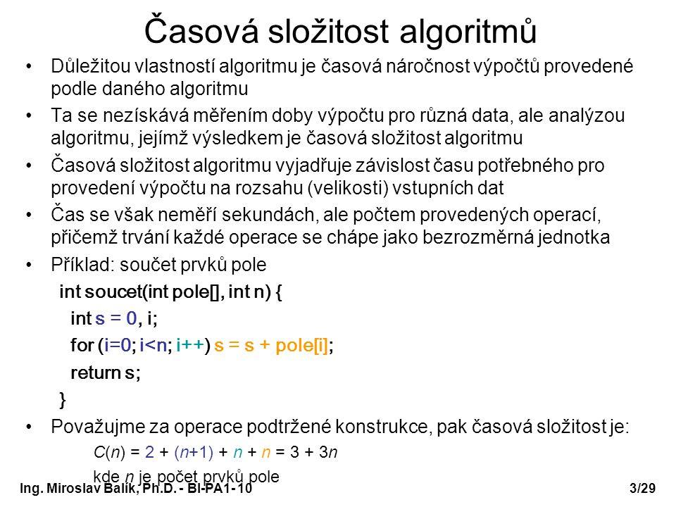Ing. Miroslav Balík, Ph.D. - BI-PA1- 10 Časová složitost algoritmů Důležitou vlastností algoritmu je časová náročnost výpočtů provedené podle daného a