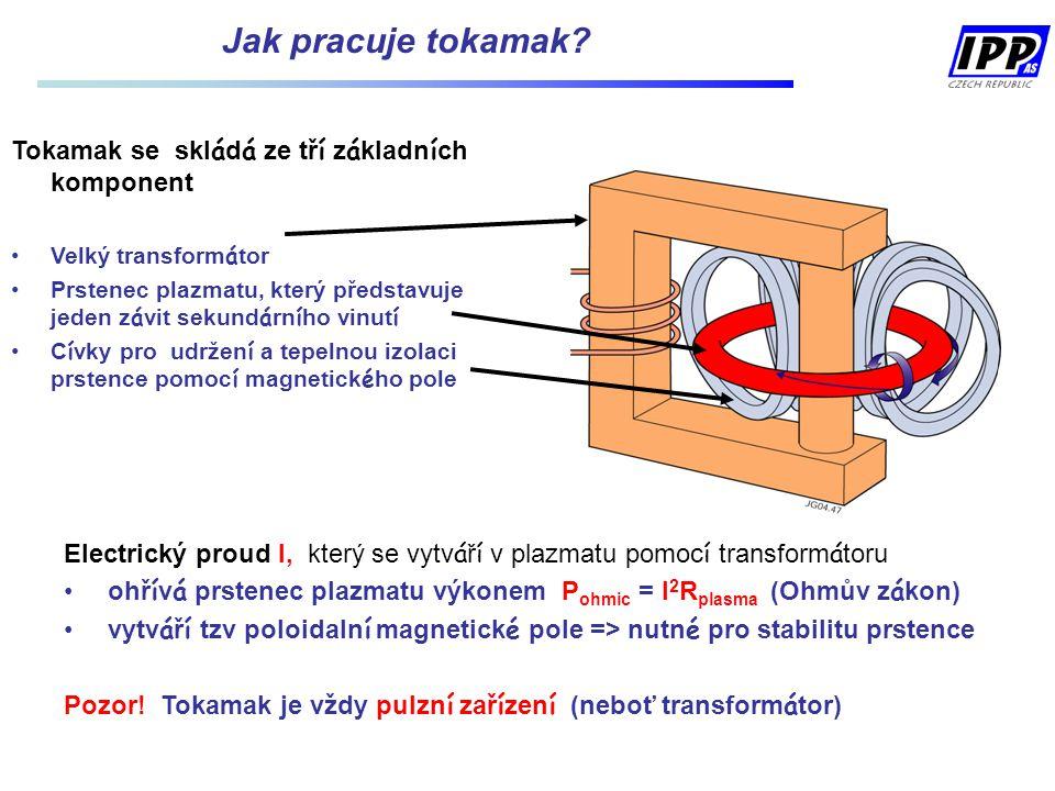 Jak pracuje tokamak? Tokamak se skl á d á ze tř í z á kladn í ch komponent Velký transform á tor Prstenec plazmatu, který představuje jeden z á vit se