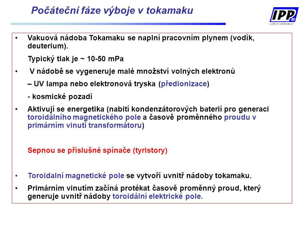 Vakuová nádoba Tokamaku se naplní pracovním plynem (vodík, deuterium). Typický tlak je ~ 10-50 mPa V nádobě se vygeneruje malé množství volných elektr