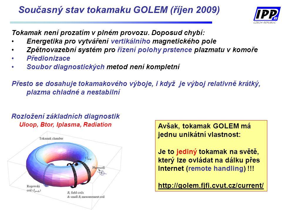 Současný stav tokamaku GOLEM (říjen 2009) Rozložení základních diagnostik Uloop, Btor, Iplasma, Radiation Tokamak není prozatím v plném provozu.