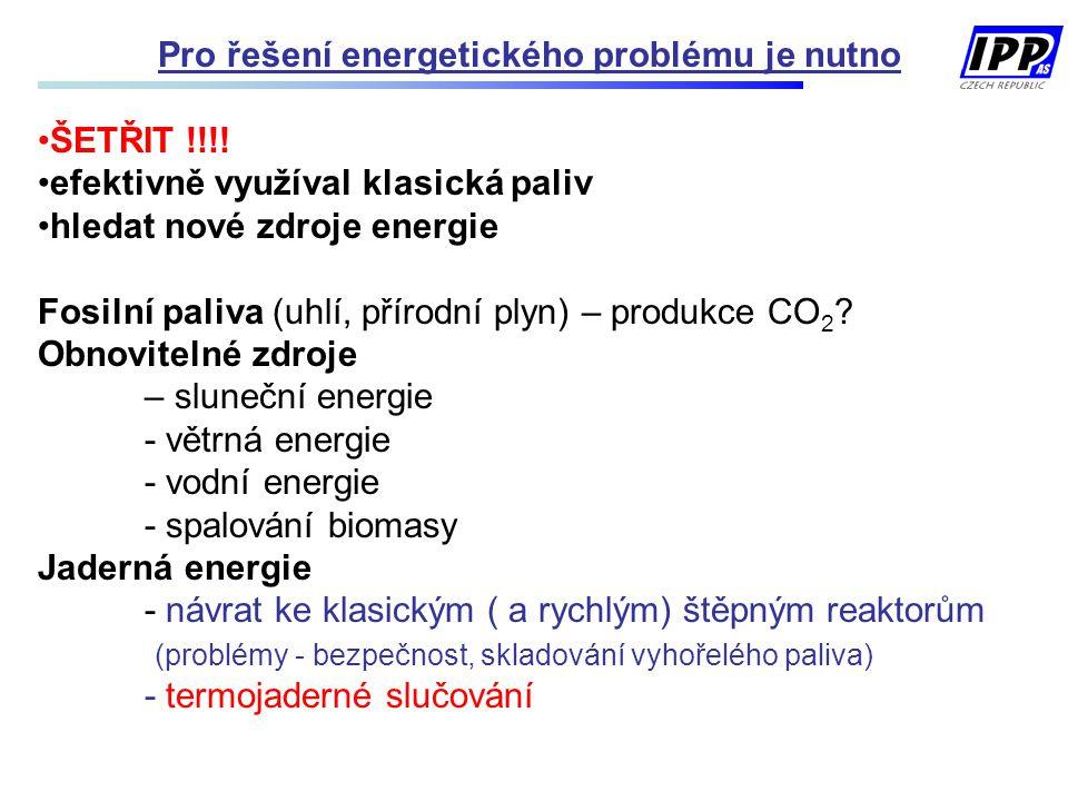 Pro řešení energetického problému je nutno ŠETŘIT !!!! efektivně využíval klasická paliv hledat nové zdroje energie Fosilní paliva (uhlí, přírodní ply