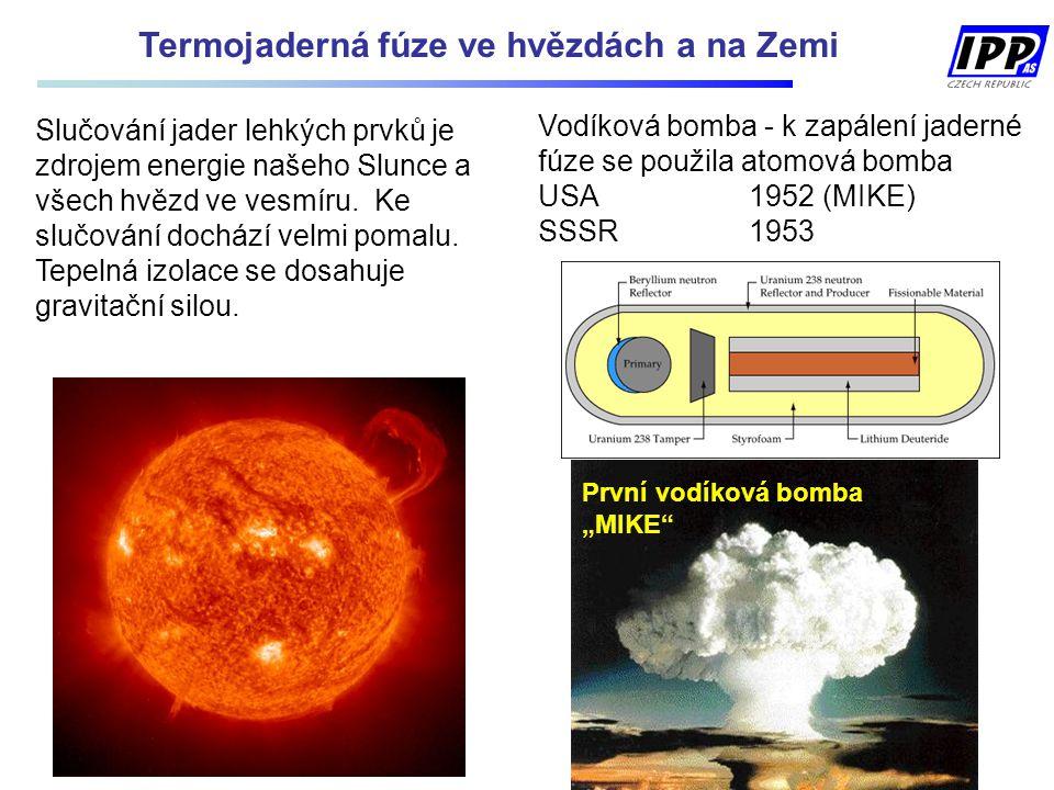 Vodíková bomba - k zapálení jaderné fúze se použila atomová bomba USA1952 (MIKE) SSSR 1953 Slučování jader lehkých prvků je zdrojem energie našeho Slunce a všech hvězd ve vesmíru.