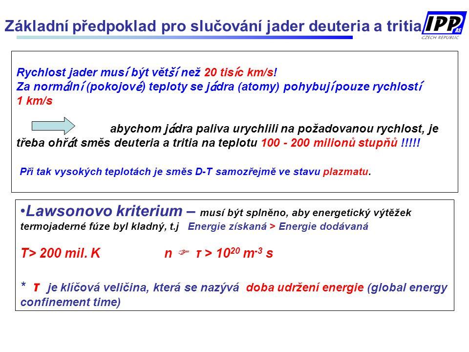 Lawsonovo kriterium – musí být splněno, aby energetický výtěžek termojaderné fúze byl kladný, t.j Energie získaná > Energie dodávaná T> 200 mil. K n 