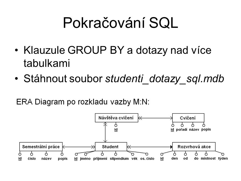 Slučování záznamů do skupin (1) Chceme zjistit informace obsažené ve více záznamech najednou Klauzule GROUP BY se seznamem sloupců, podle kterých se mají záznamy spojit Nakonec lze přidat podmínku pro již sloučené záznamy – klauzule HAVING s podmínkou