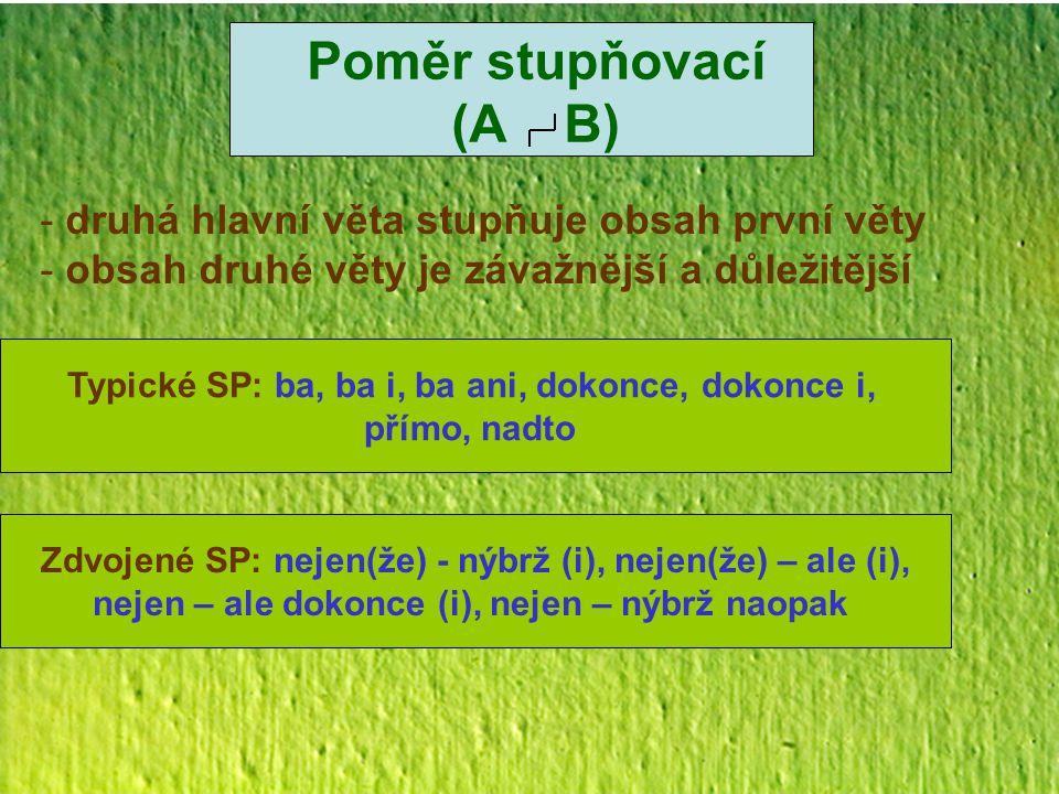 Poměr stupňovací (A B) - druhá hlavní věta stupňuje obsah první věty - obsah druhé věty je závažnější a důležitější Typické SP: ba, ba i, ba ani, doko
