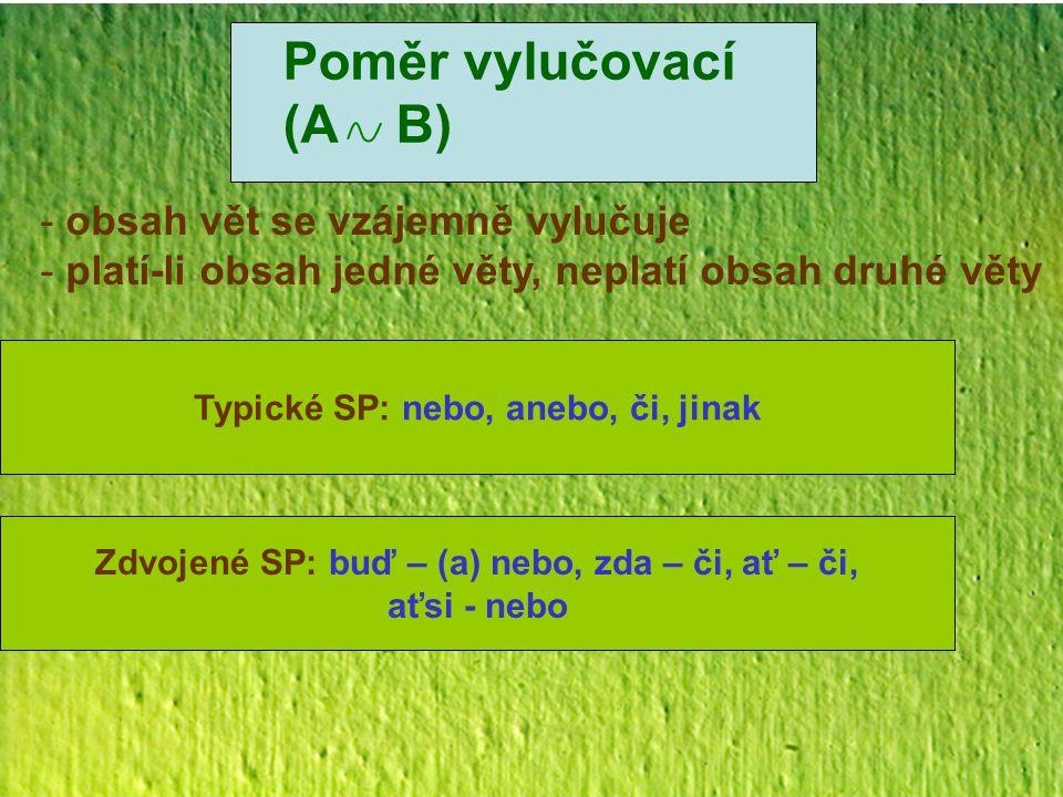 Poměr vylučovací (A B) - obsah vět se vzájemně vylučuje - platí-li obsah jedné věty, neplatí obsah druhé věty Typické SP: nebo, anebo, či, jinak Zdvoj