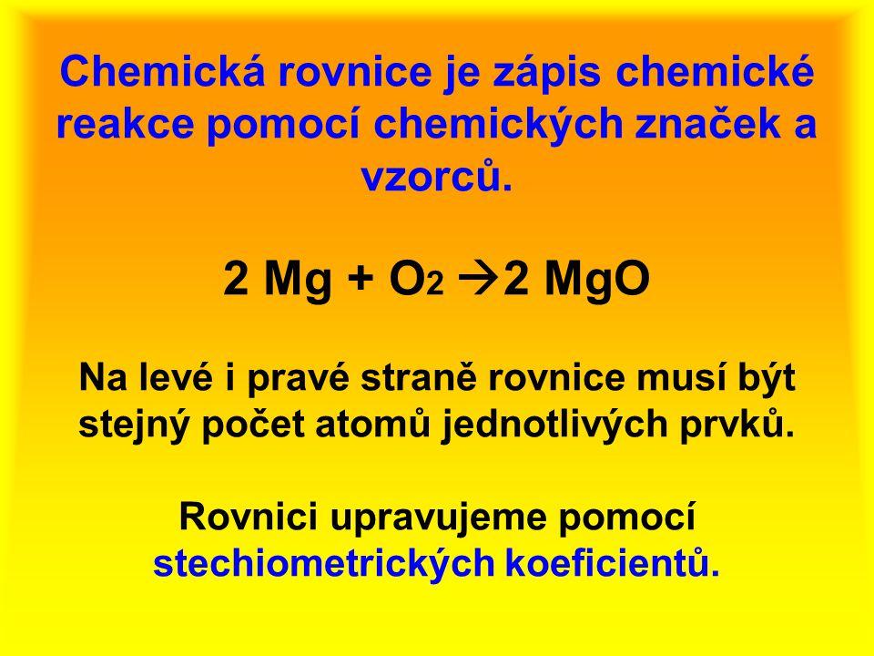 Reaktanty a produkty 2 Mg + O 2  2 MgO Levá strana rovnice: reaktanty ( Mg, O 2 ) Pravá strana rovnice: produkty ( MgO) Obr.1 Obr.2