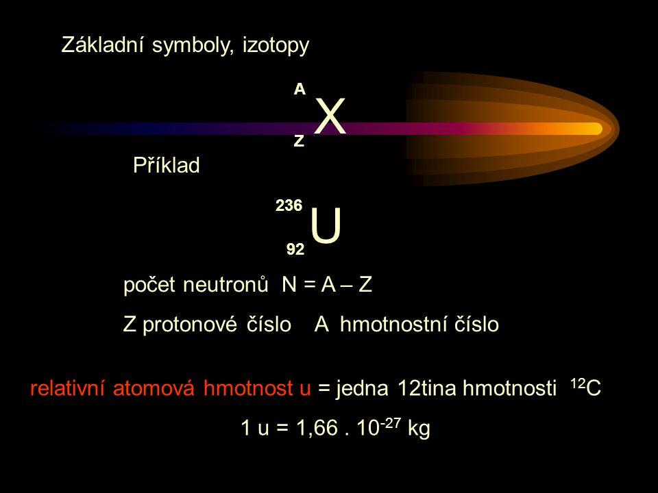 relativní atomová hmotnost u = jedna 12tina hmotnosti 12 C 1 u = 1,66.