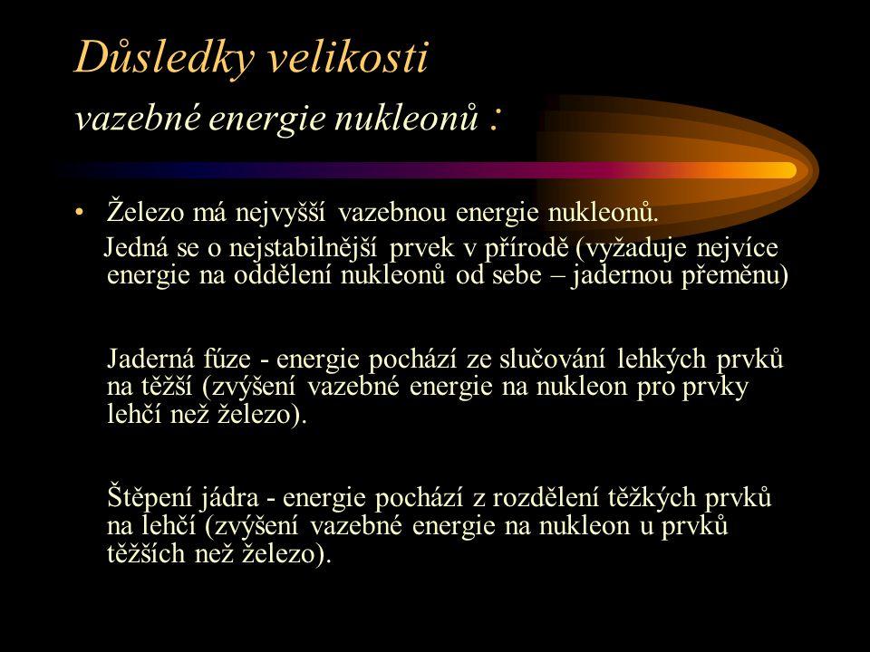 Důsledky velikosti vazebné energie nukleonů : Železo má nejvyšší vazebnou energie nukleonů.