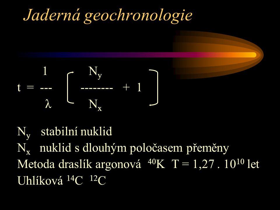 Jaderná geochronologie 1 N y t = --- -------- + 1 λ N x N y stabilní nuklid N x nuklid s dlouhým poločasem přeměny Metoda draslík argonová 40 K T = 1,27.
