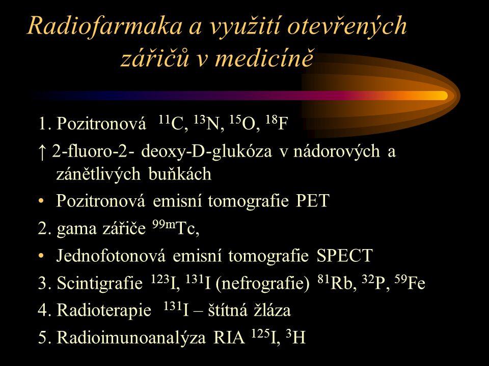 Radiofarmaka a využití otevřených zářičů v medicíně 1.