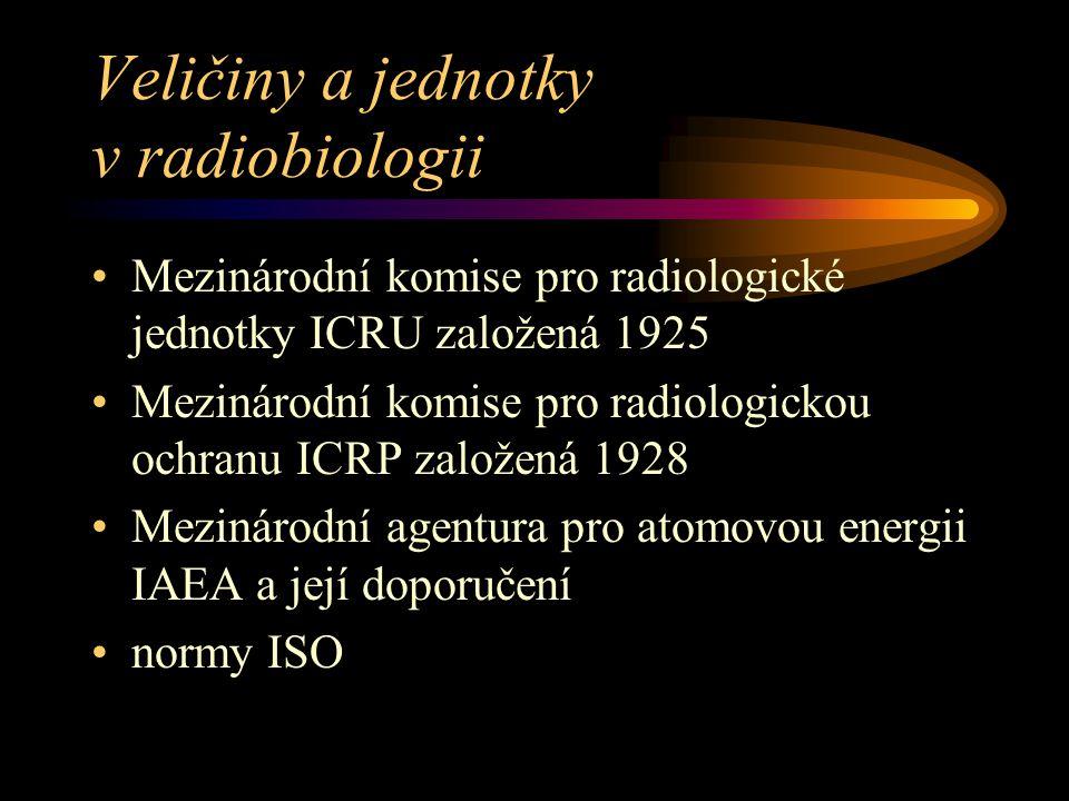 Veličiny a jednotky v radiobiologii Mezinárodní komise pro radiologické jednotky ICRU založená 1925 Mezinárodní komise pro radiologickou ochranu ICRP založená 1928 Mezinárodní agentura pro atomovou energii IAEA a její doporučení normy ISO