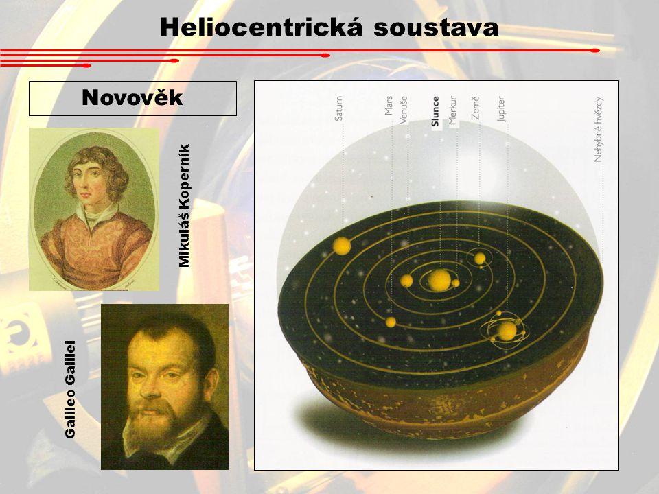 Heliocentrická soustava Novověk Mikuláš Koperník Galileo Galilei