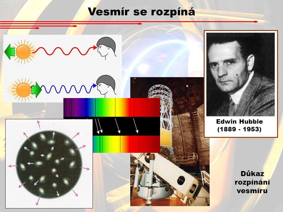 Vesmír se rozpíná Důkaz rozpínání vesmíru Edwin Hubble (1889 - 1953)