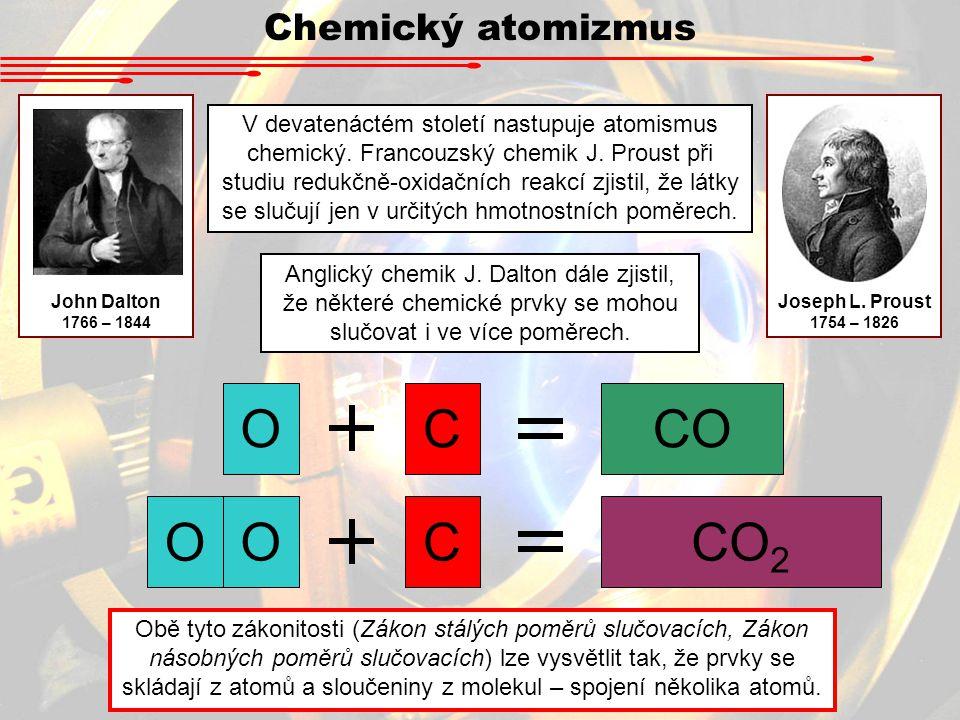 V devatenáctém století nastupuje atomismus chemický.