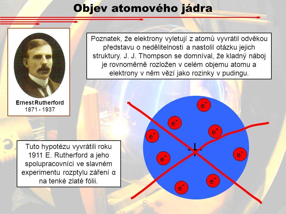 Ernest Rutherford 1871 - 1937 Poznatek, že elektrony vyletují z atomů vyvrátil odvěkou představu o nedělitelnosti a nastolil otázku jejich struktury.