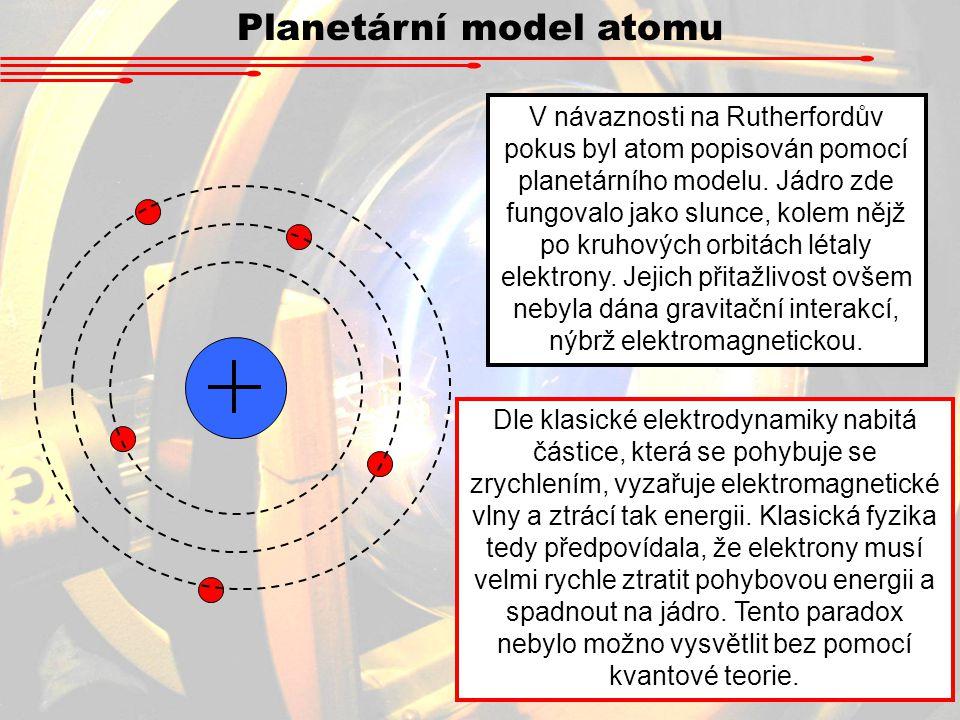 V návaznosti na Rutherfordův pokus byl atom popisován pomocí planetárního modelu.