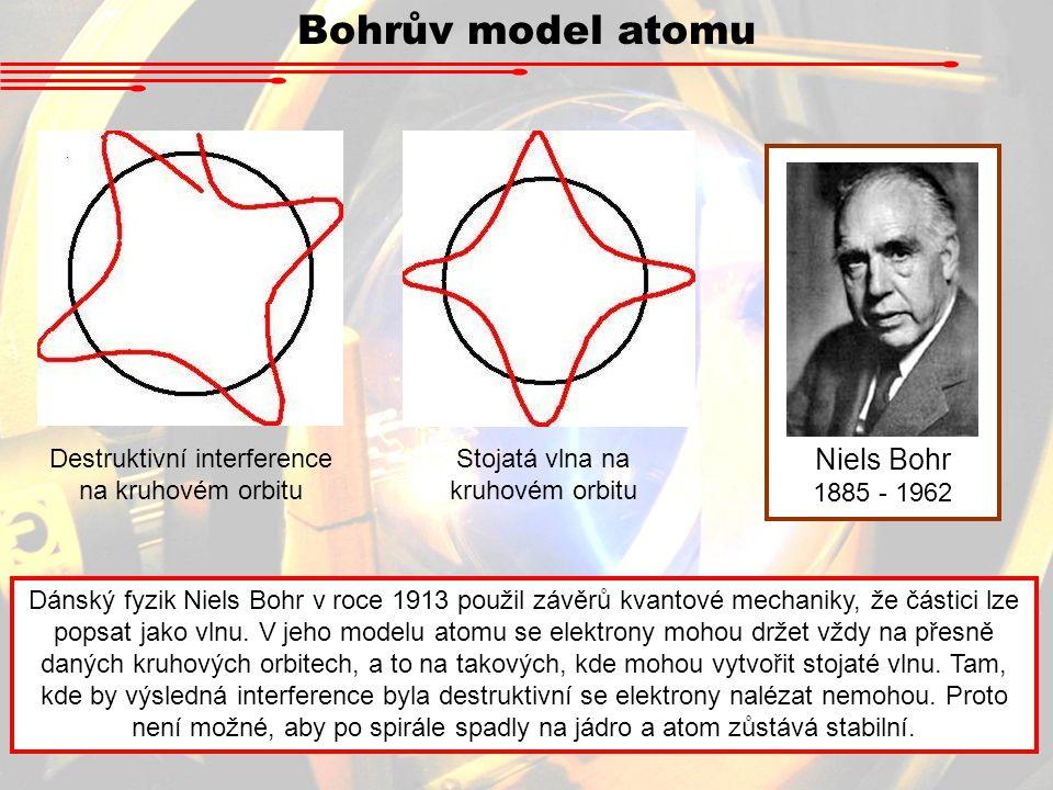 Niels Bohr 1885 - 1962 Dánský fyzik Niels Bohr v roce 1913 použil závěrů kvantové mechaniky, že částici lze popsat jako vlnu.