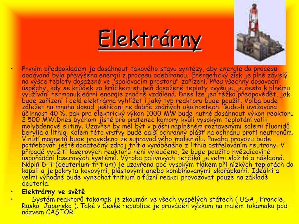 Elektrárny Prvním předpokladem je dosáhnout takového stavu syntézy, aby energie do procesu dodávaná byla převýšena energií z procesu odebíranou. Energ