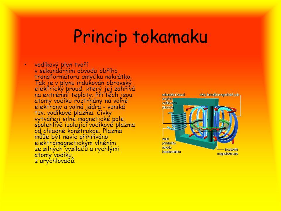 Princip tokamaku vodíkový plyn tvoří v sekundárním obvodu obřího transformátoru smyčku nakrátko. Tak je v plynu indukován obrovský elektrický proud, k
