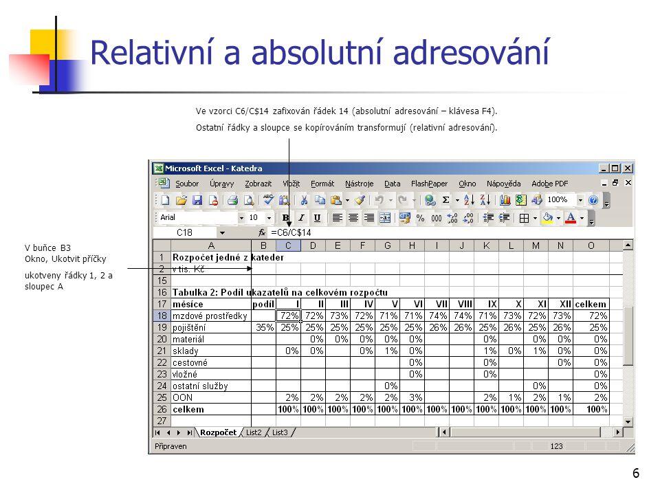 7 Relativní a absolutní adresování Ve vzorci C6/$O6 zafixován sloupec 6 (absolutní adresování).