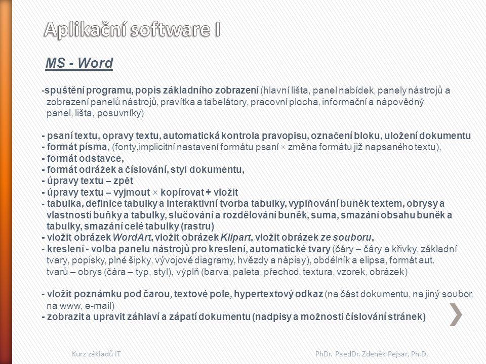 MS - Word -spuštění programu, popis základního zobrazení (hlavní lišta, panel nabídek, panely nástrojů a zobrazení panelů nástrojů, pravítka a tabelát