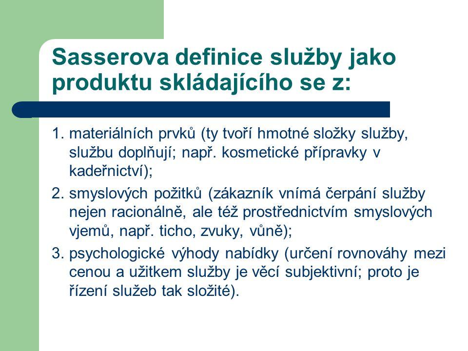 Sasserova definice služby jako produktu skládajícího se z: 1.materiálních prvků (ty tvoří hmotné složky služby, službu doplňují; např. kosmetické příp
