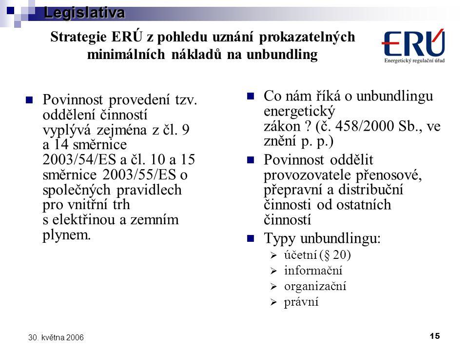 15 30. května 2006 Povinnost provedení tzv. oddělení činností vyplývá zejména z čl.