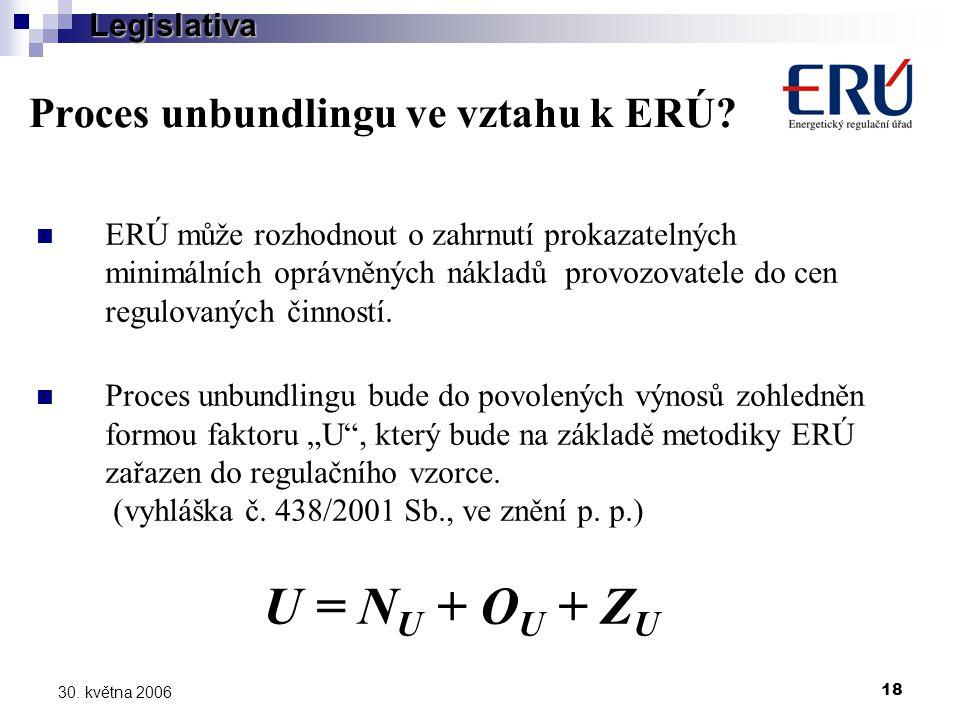 18 30. května 2006 Proces unbundlingu ve vztahu k ERÚ.