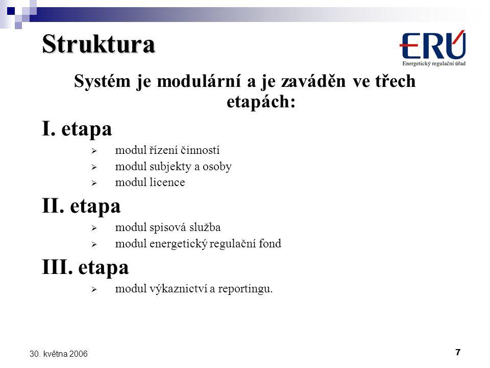 7 30. května 2006 Struktura Systém je modulární a je zaváděn ve třech etapách: I.