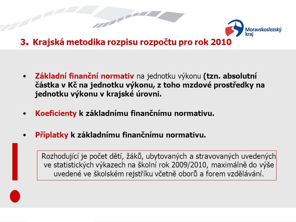 3. Krajská metodika rozpisu rozpočtu pro rok 2010 Základní finanční normativ na jednotku výkonu (tzn. absolutní částka v Kč na jednotku výkonu, z toho