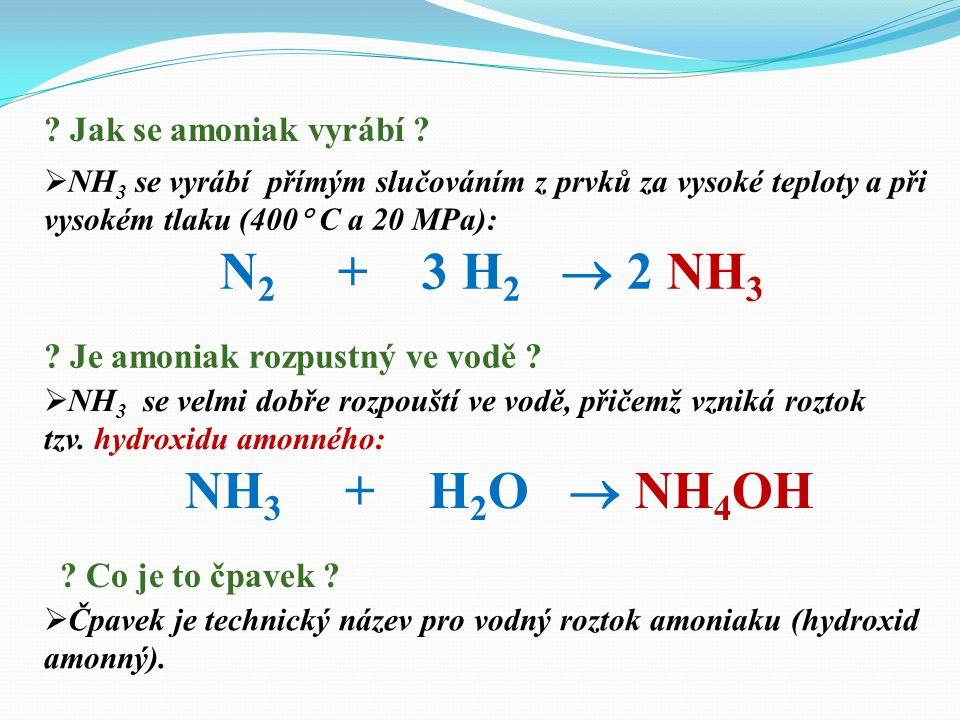  NH 3 se vyrábí přímým slučováním z prvků za vysoké teploty a při vysokém tlaku (400  C a 20 MPa): N 2 + 3 H 2  2 NH 3 .