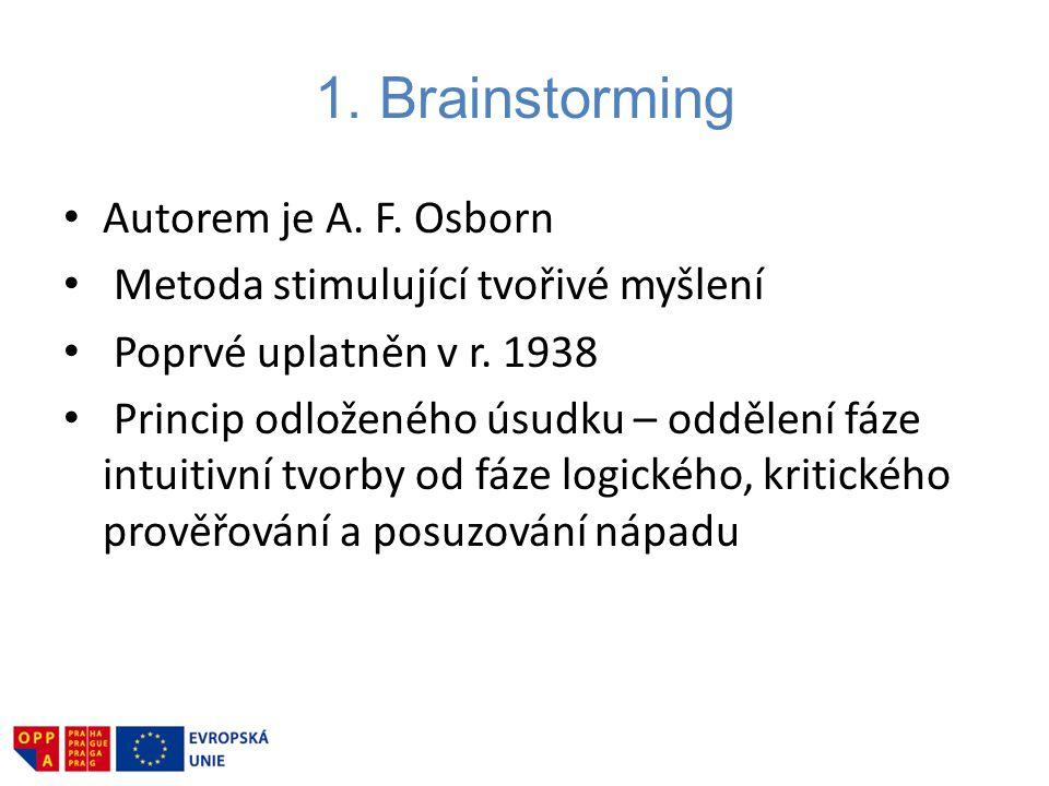 1. Brainstorming Autorem je A. F. Osborn Metoda stimulující tvořivé myšlení Poprvé uplatněn v r. 1938 Princip odloženého úsudku – oddělení fáze intuit
