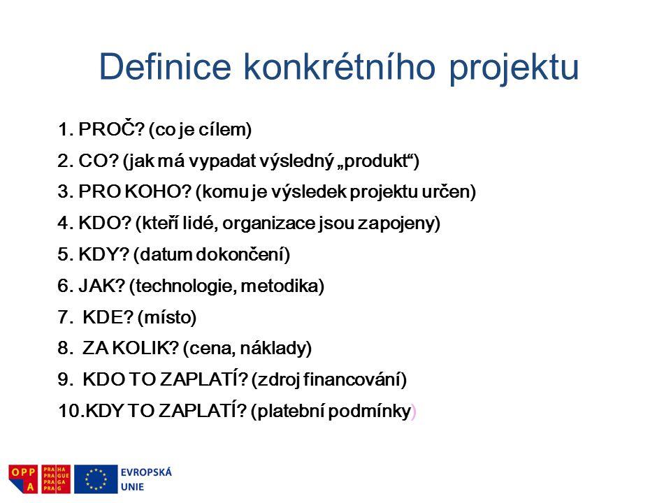 """Definice konkrétního projektu 1. PROČ? (co je cílem) 2. CO? (jak má vypadat výsledný """"produkt"""") 3. PRO KOHO? (komu je výsledek projektu určen) 4. KDO?"""