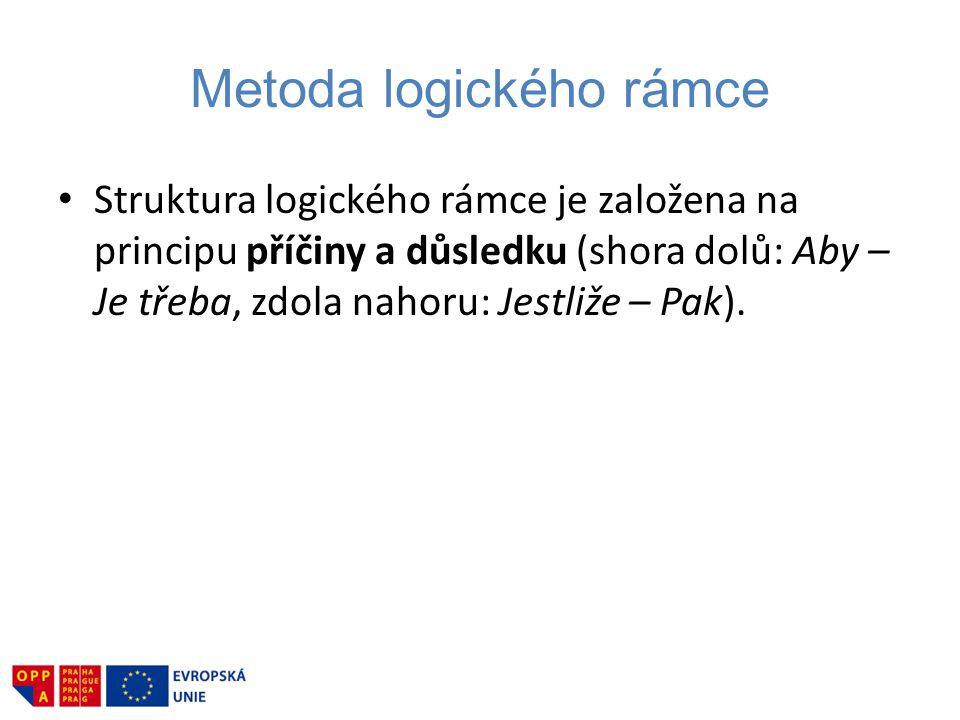 Struktura logického rámce je založena na principu příčiny a důsledku (shora dolů: Aby – Je třeba, zdola nahoru: Jestliže – Pak).