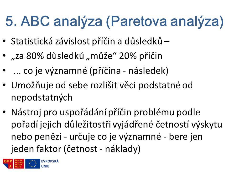 """5. ABC analýza (Paretova analýza) Statistická závislost příčin a důsledků – """"za 80% důsledků """"může"""" 20% příčin... co je významné (příčina - následek)"""
