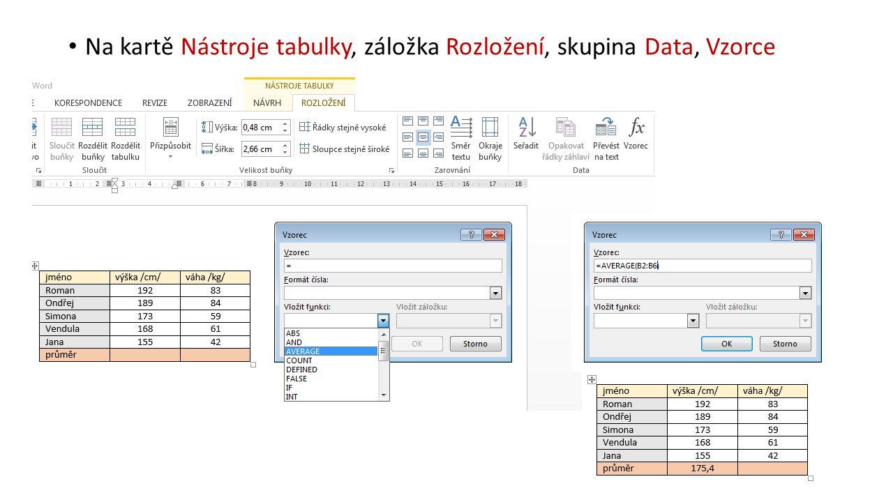 Na kartě Nástroje tabulky, záložka Rozložení, skupina Data, Vzorce