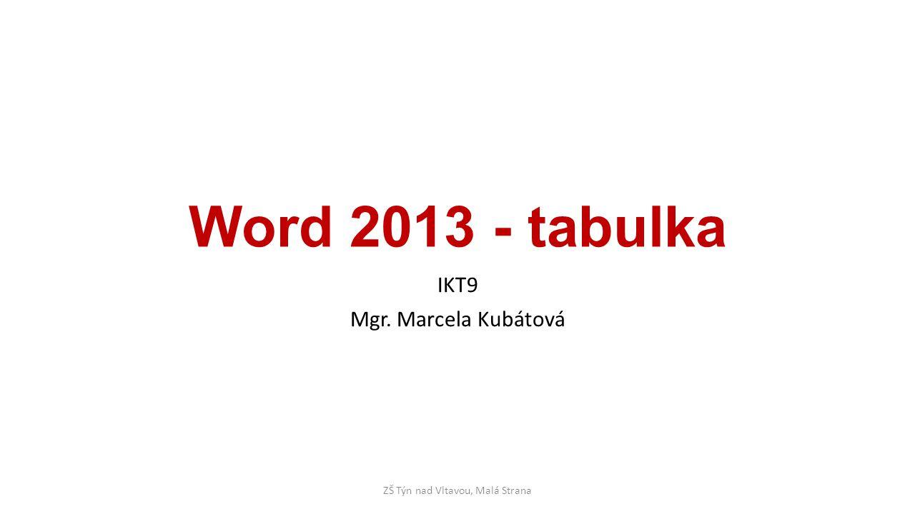 Word 2013 - tabulka IKT9 Mgr. Marcela Kubátová ZŠ Týn nad Vltavou, Malá Strana