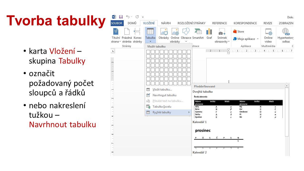 Tvorba tabulky karta Vložení – skupina Tabulky označit požadovaný počet sloupců a řádků nebo nakreslení tužkou – Navrhnout tabulku